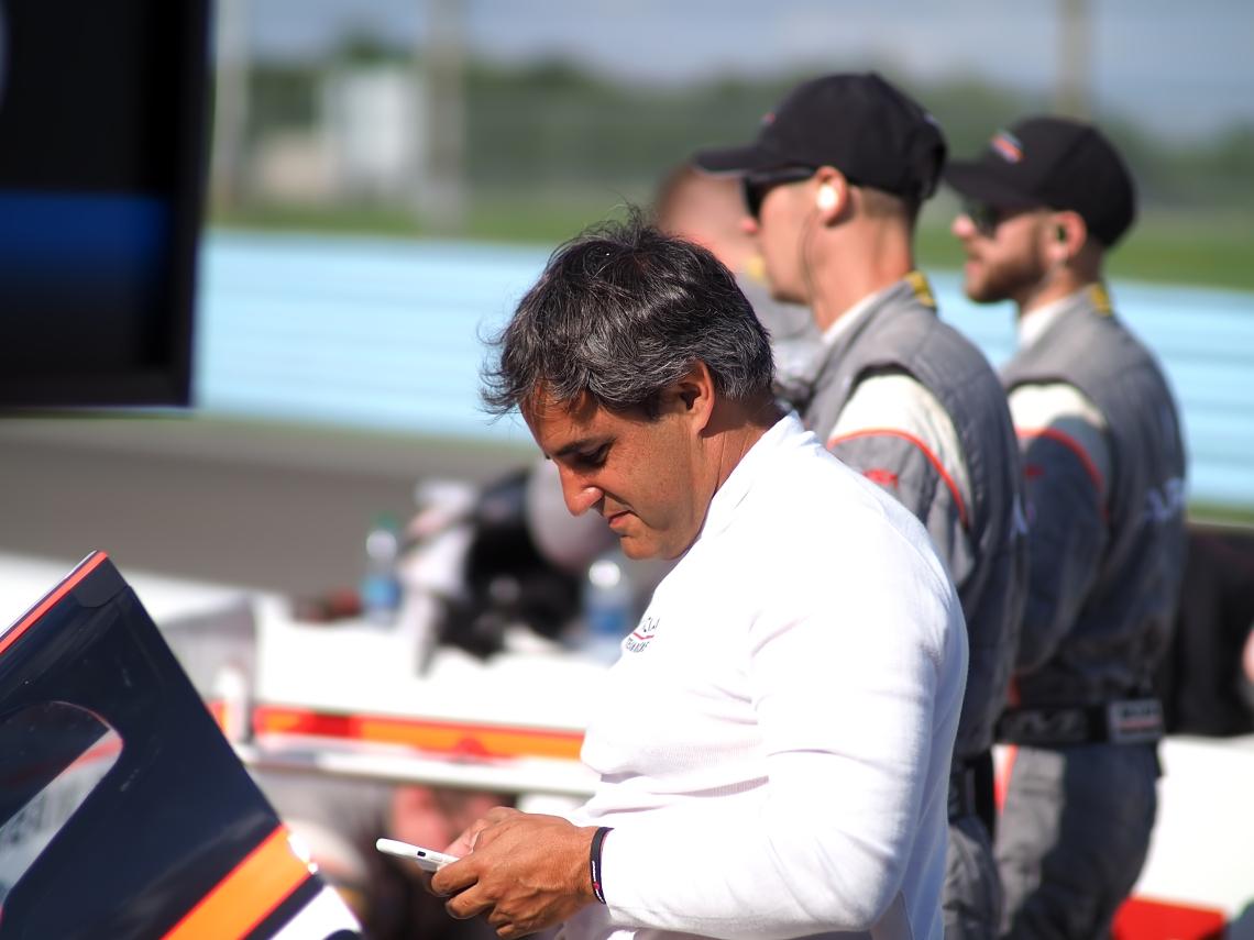 Juan Pablo Montoya relaxing before the race.