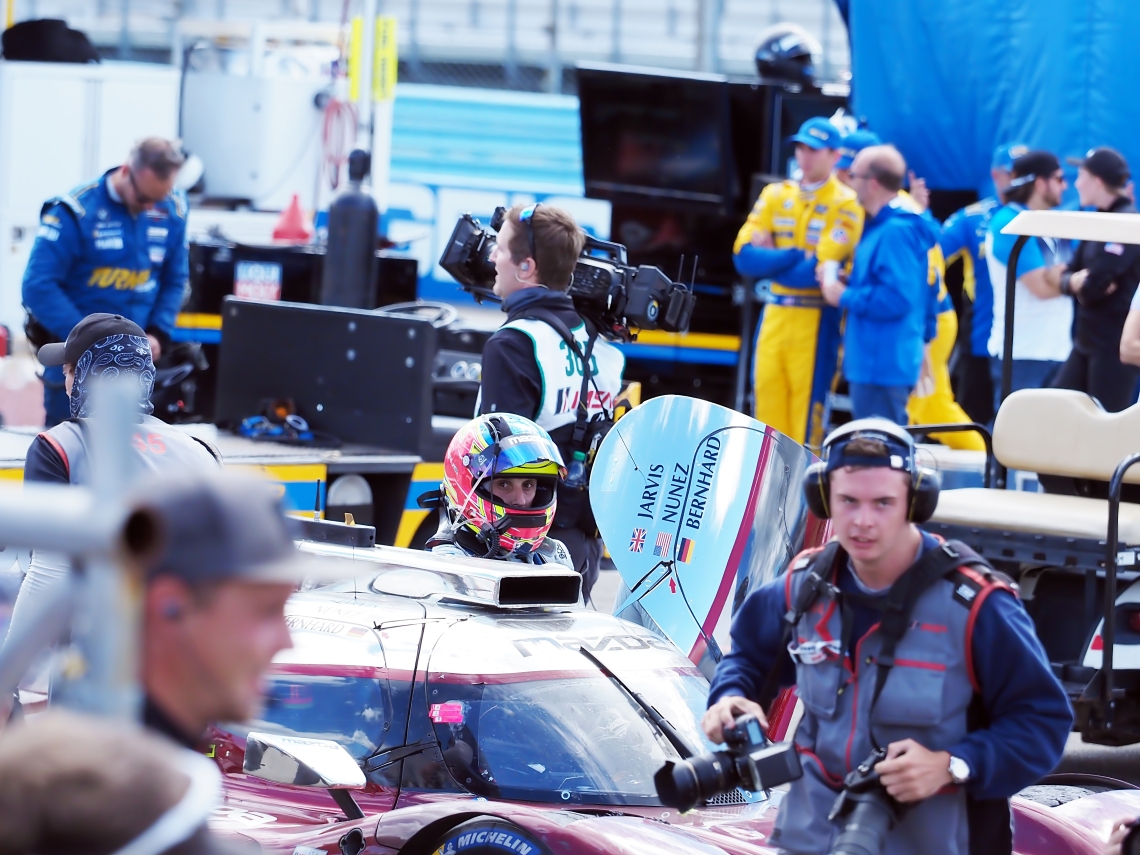 Mazda #77 Oliver Jarvis emerges.